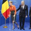 La reine Mathilde en béquilles à la visite des institutions européennes